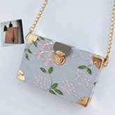 PU Lock Floral Embroidery Flap Crossbody Bags