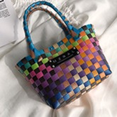 Plaid Knitted Square Soft Tote Bags