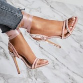 Open Toe Nude Stiletto Heel Sandals