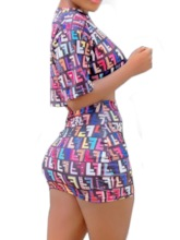 Skirt Letter Western Print Bodycon Women's Two Piece Sets