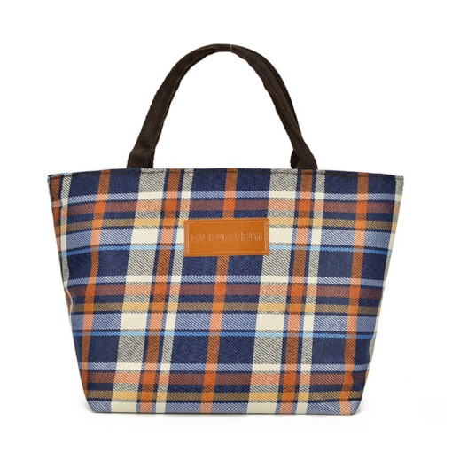 Thread PU Plaid Square Tote Bags