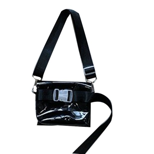 Belt Decorated Plain PVC Square Crossbody Bags