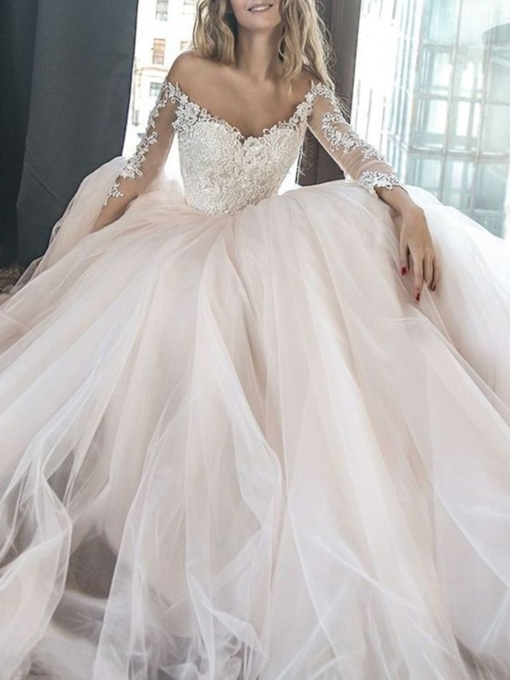 Long Sleeves Off-The-Shoulder Appliques Wedding Dress 2019
