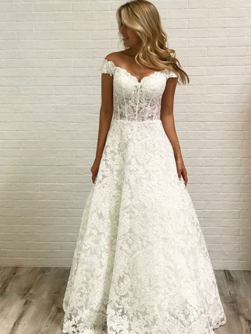 Off-The-Shoulder Lace Wedding Dress 2019