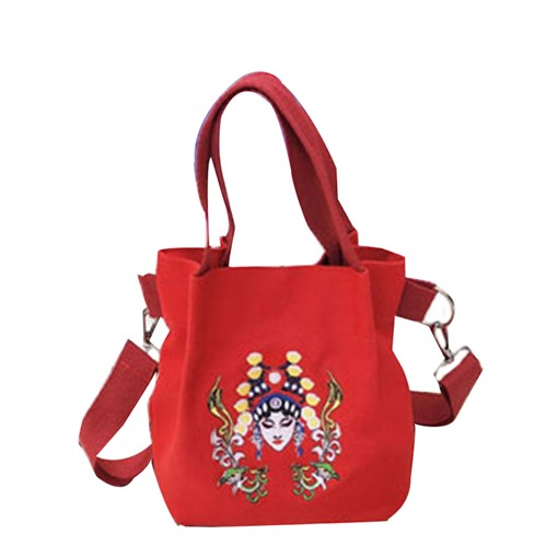 Cartoon Print Canvas Barrel-Shaped Bags