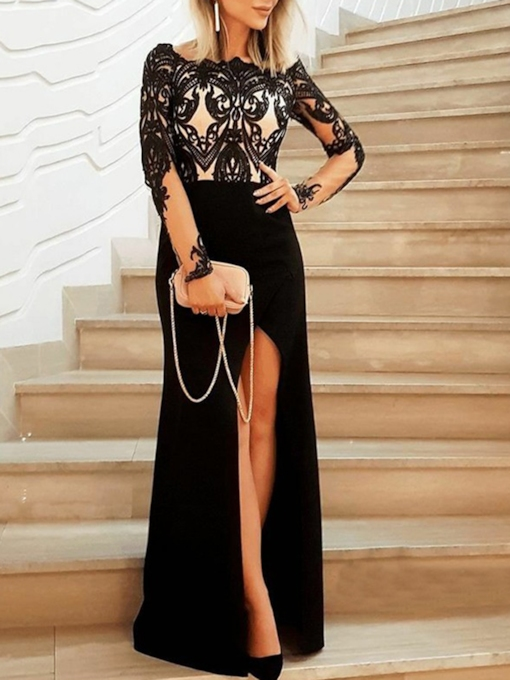 Appliques Split-Front Long Sleeves Wedding Party Dress 2019