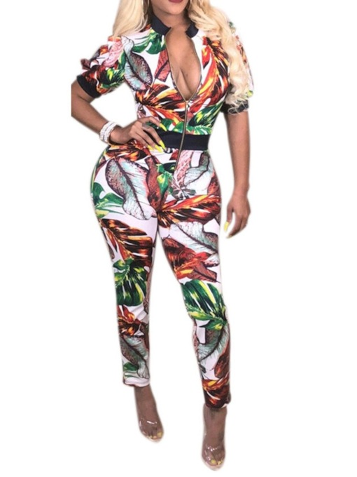Full Length Print Plant Office Lady Skinny Women's Jumpsuit