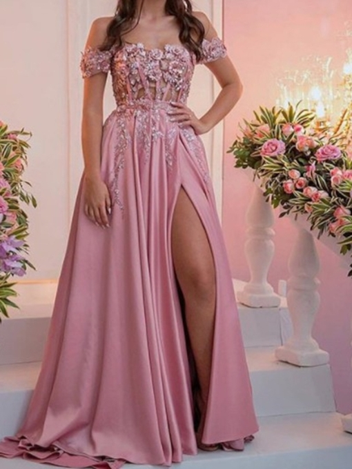 Short Sleeves Appliques Off-The-Shoulder Floor-Length Prom Dress 2019