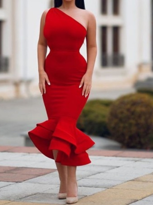 Trumpet Ruffles Sleeveless Tea-Length Cocktail Dress 2019