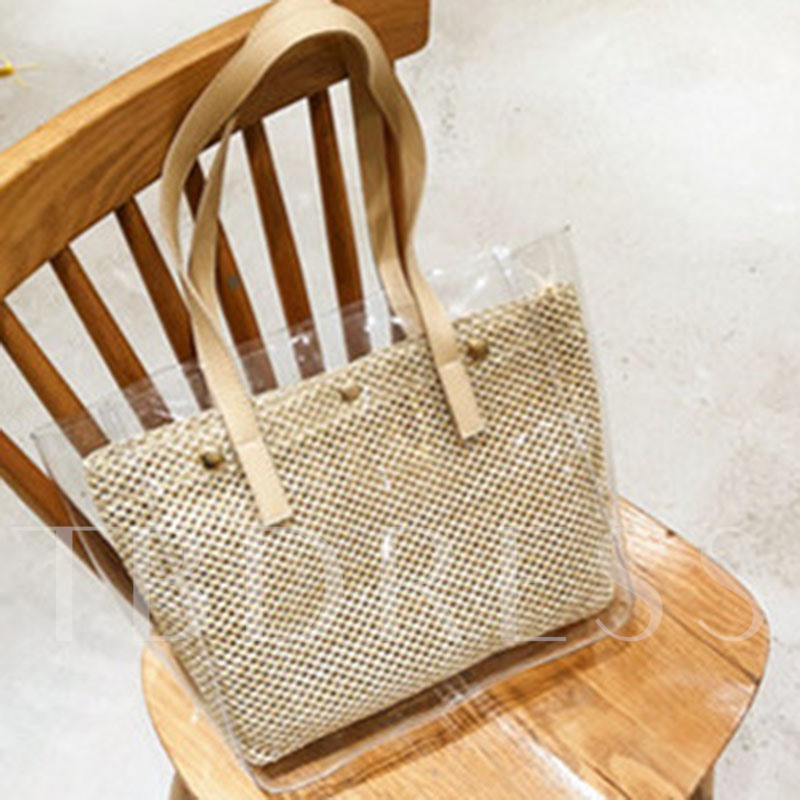 Knitted Plain PVC Rectangle Straw Clear Bags