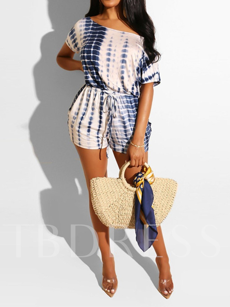 Western Shorts Lace-Up Color Block Mid Waist Women's Romper