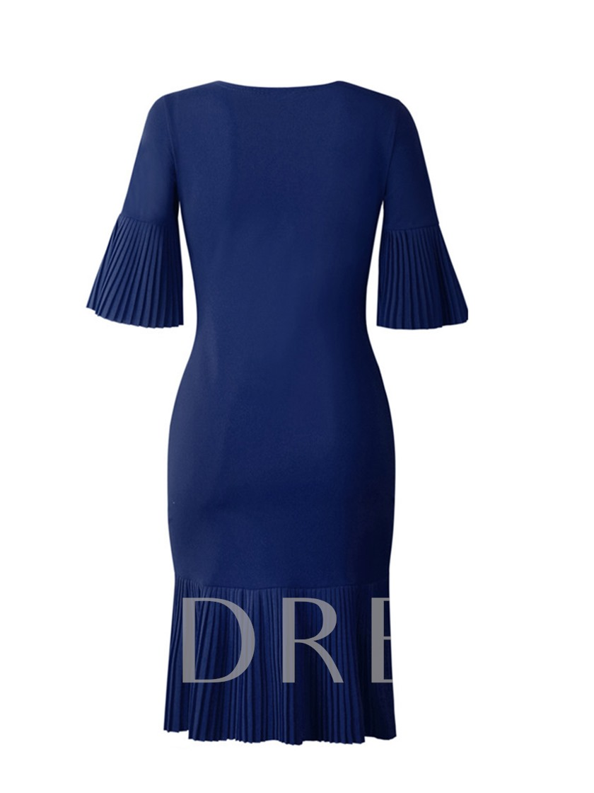 Pleated Half Sleeve Flare Sleeve Women's Sheath Dress