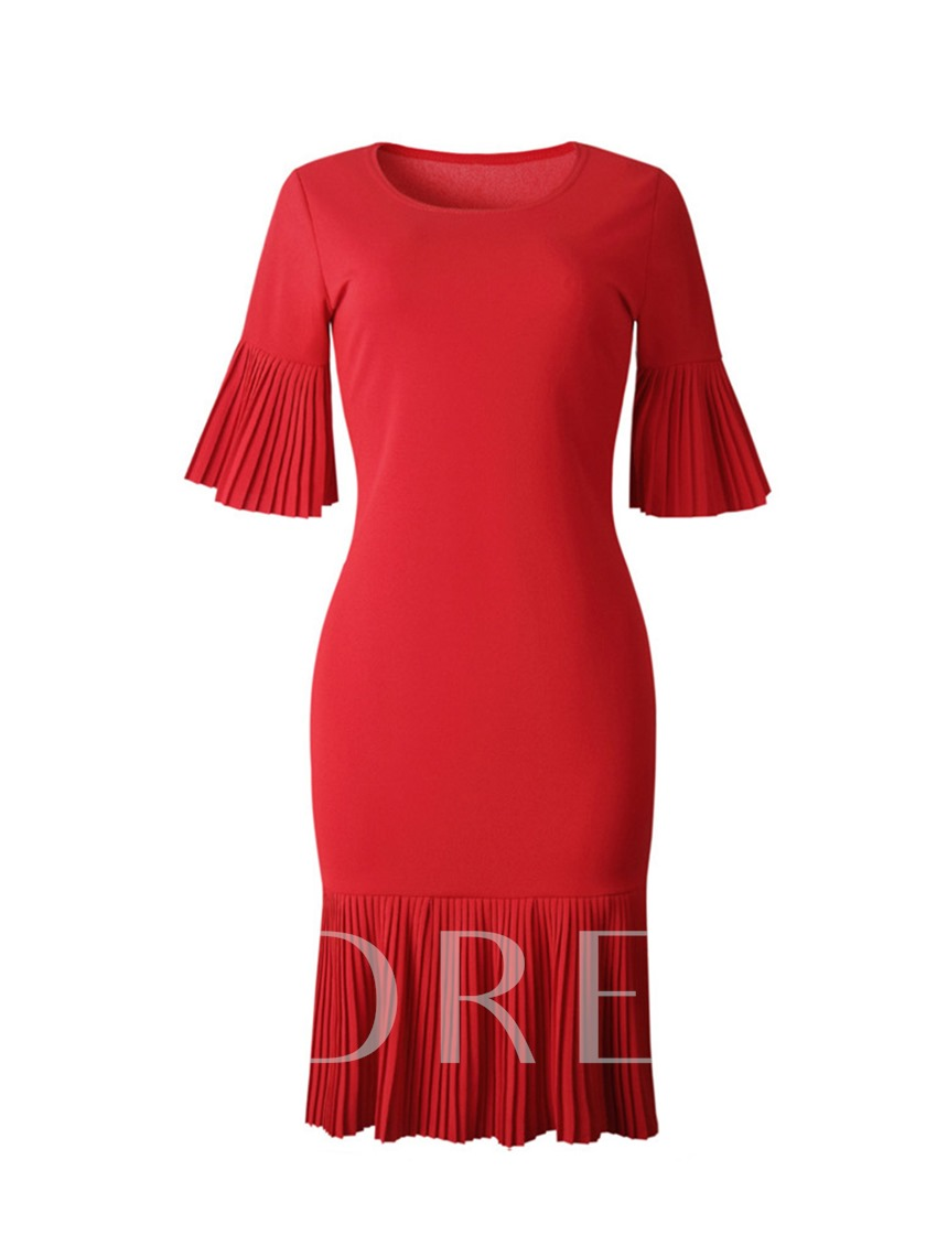 Plus Size Pleated Half Sleeve Flare Sleeve Women's Sheath Dress