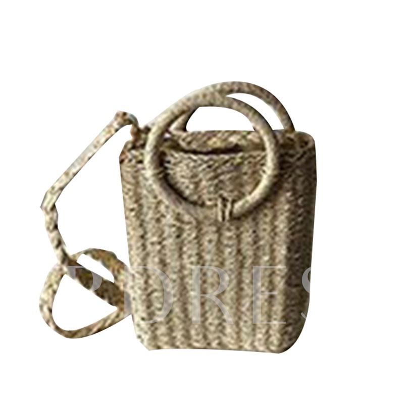 Knitted Grass Plain Rectangle Straw Bags