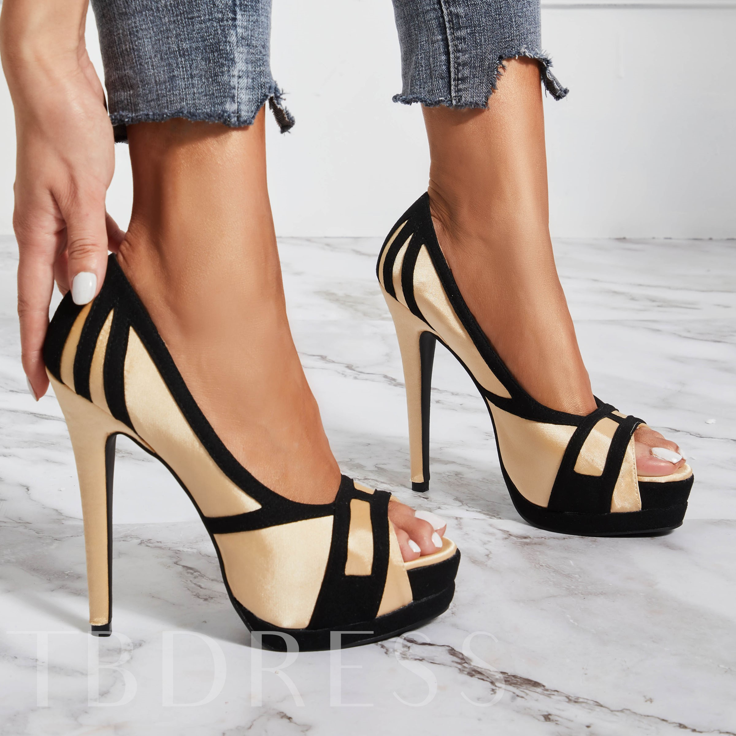 Peep Toe Platform Color Block Heel Sandals