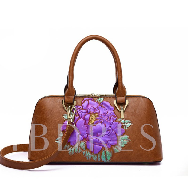 Embossing Floral PU Rectangle Tote Bags