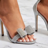 Rhinestone Stiletto Heel Open Toe Glitter Prom Sandals