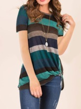 Short Sleeve Round Neck Mid-Length Color Block Casual Women's T-Shirt