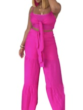 Pants Plain Strap Western Pullover Women's Two Piece Sets