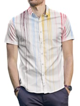 Lapel Casual Single-Breasted Color Block Button Men's Shirt