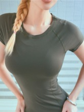 Spandex Solid Pullover Short Sleeve Women's Tee