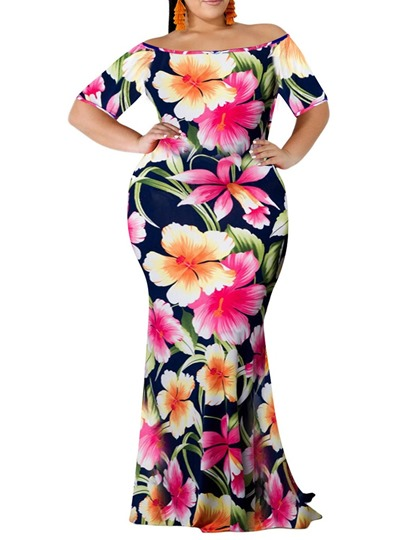 Plus Size Off Shoulder Short Sleeve Print Travel Look Womens Maxi Dress Plus Size Off Shoulder Short Sleeve Print Travel Look Women's Maxi Dress