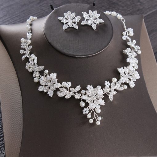 Korean Diamante Necklace Jewelry Sets (Wedding)