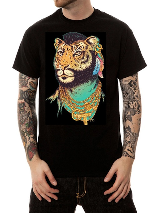 Animal Casual Round Neck Print Straight Men's T-shirt