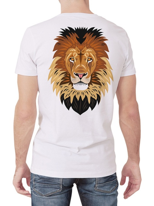 Casual Round Neck Animal Print Short Sleeve Men's T-shirt