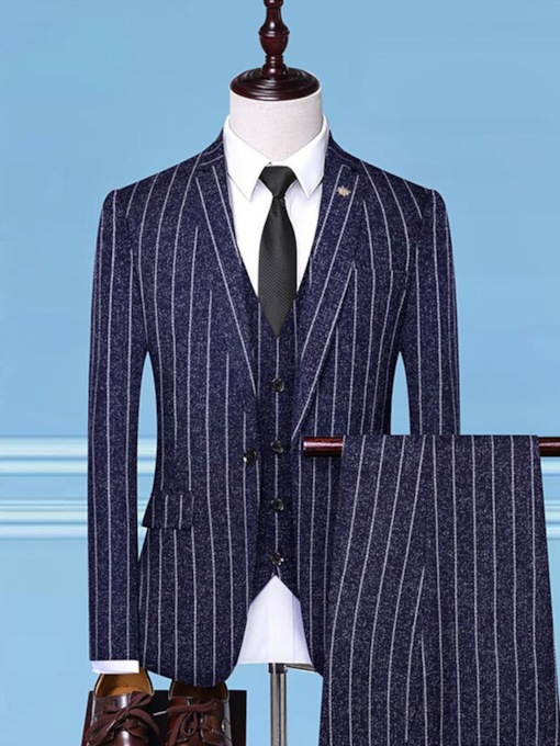 One Button Fashion Pants Color Block Men's Dress Suit