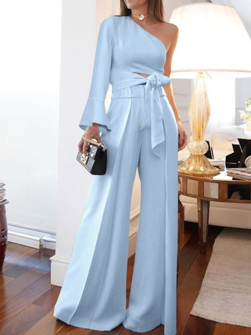 Plain Full Length Lace-Up Slim Women's Jumpsuit