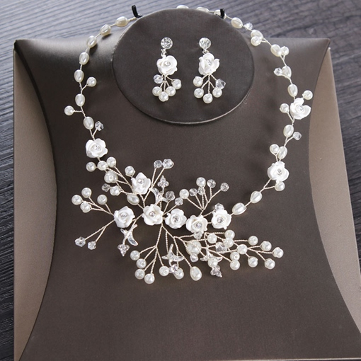 Floral Pearls Korean Necklace Wedding Jewelry Sets