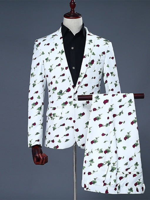One Button Floral Fashion Button Men's Dress Suit