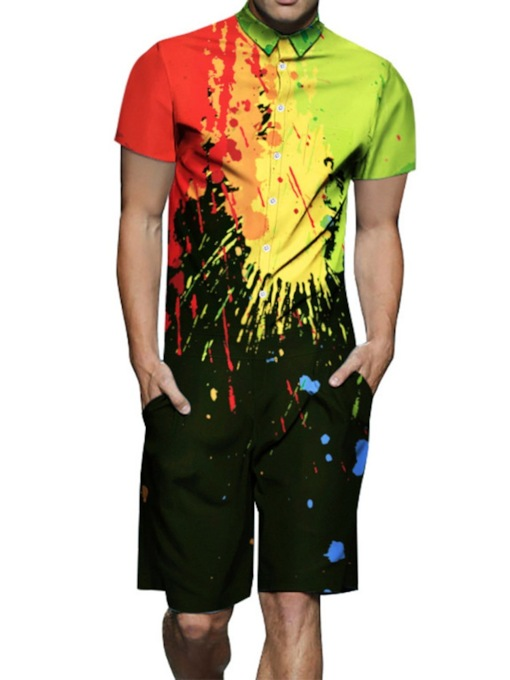 Color Block Paint Splatters Shirt Casual Summer Men's Outfit