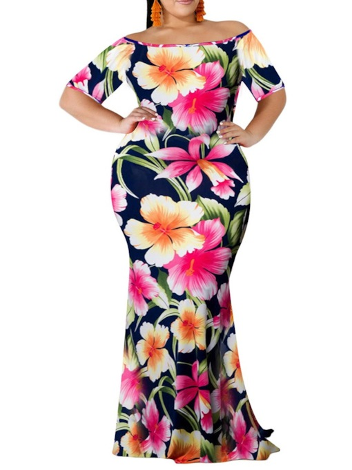 Plus Size Off Shoulder Short Sleeve Print Travel Look Women's Maxi Dress