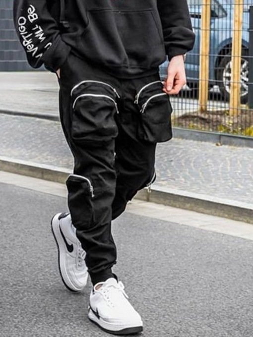 Pocket Overall Plain Casual Men's Casual Pants