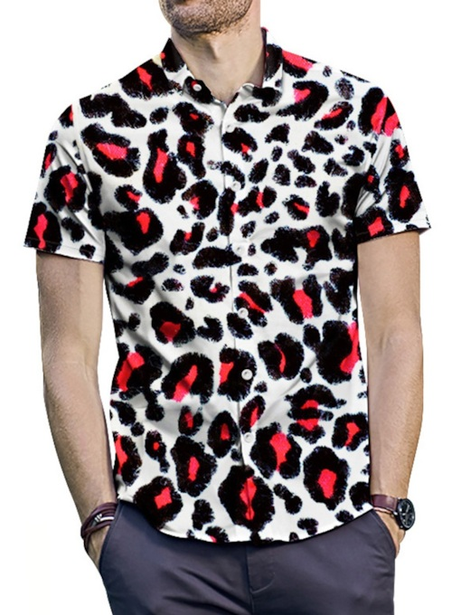 Casual Button Lapel Leopard Summer Men's Shirt