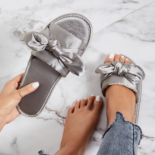 Slip-On Bow Silk Fabric Comfy Women's Slippers