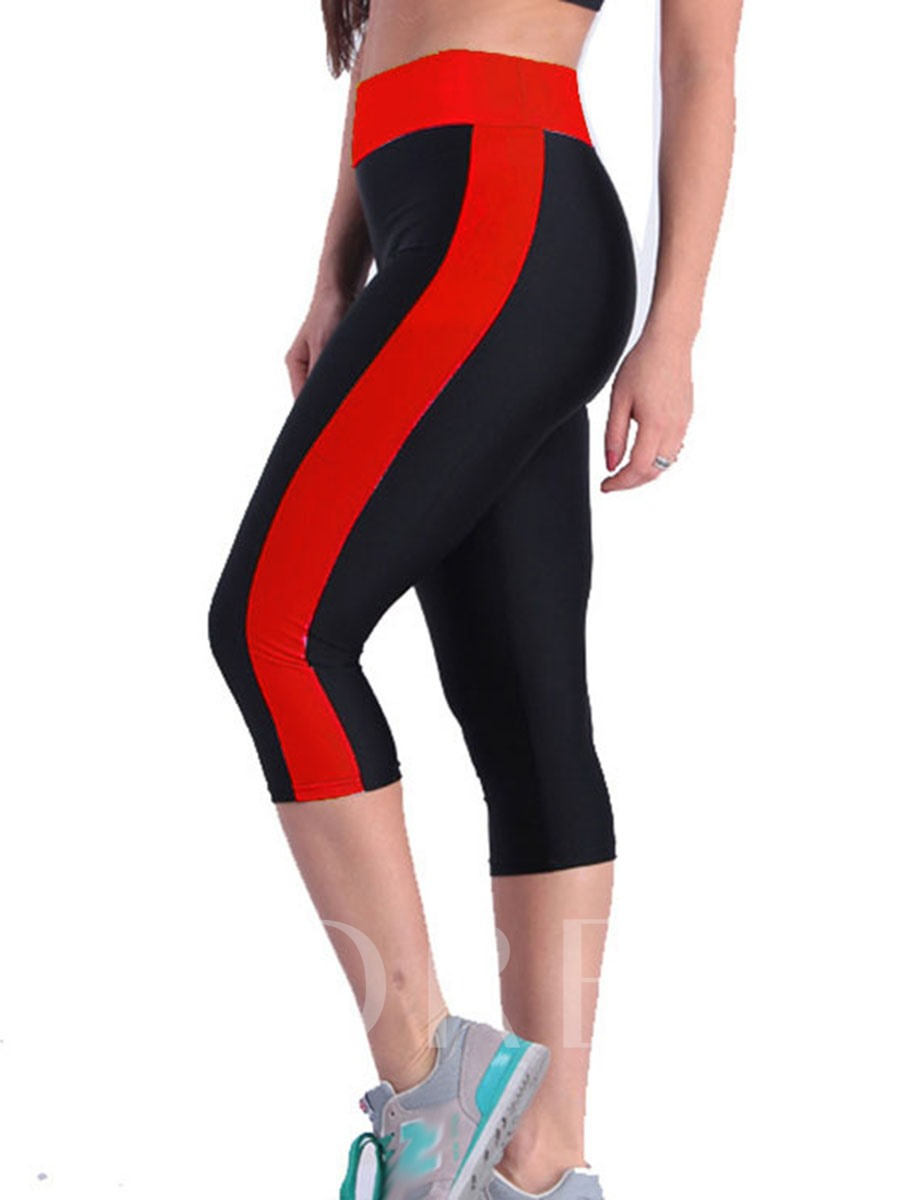 Breathable Polyester Color Block Female Mid-Calf Summer Pants
