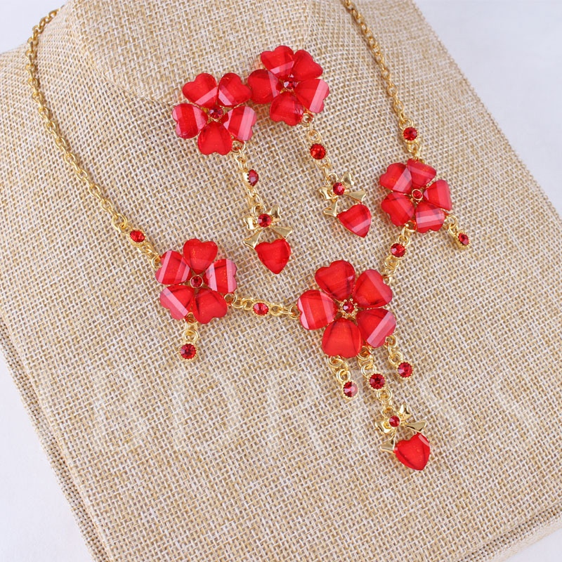 Earrings Floral Ethnic Red Wedding Jewelry Set