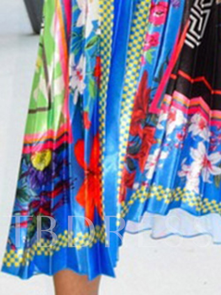 Print Ankle-Length Pleated Color Block Western Women's Skirt