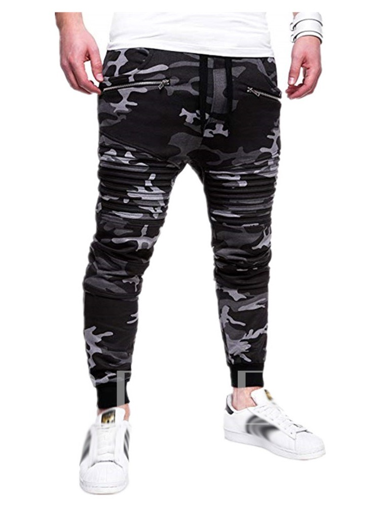 Zipper Pencil Pants Camouflage Lace-Up Men's Casual Pants