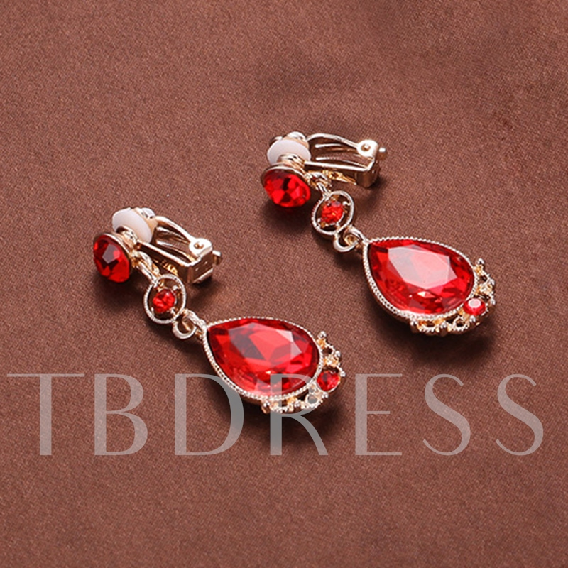 Vintage E-Plating Floral Red Wedding Jewelry Sets