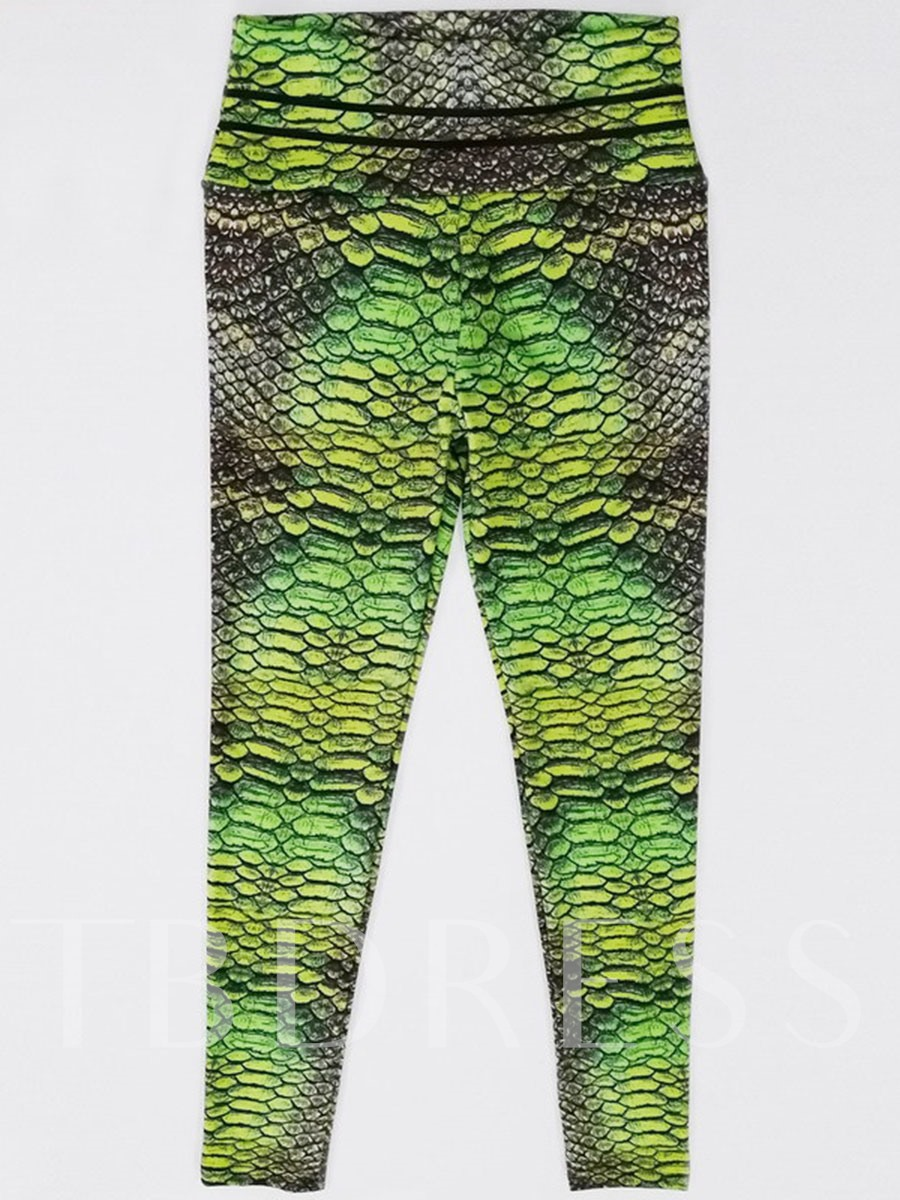 Serpentine Color Block Print High Waist Women's Leggings