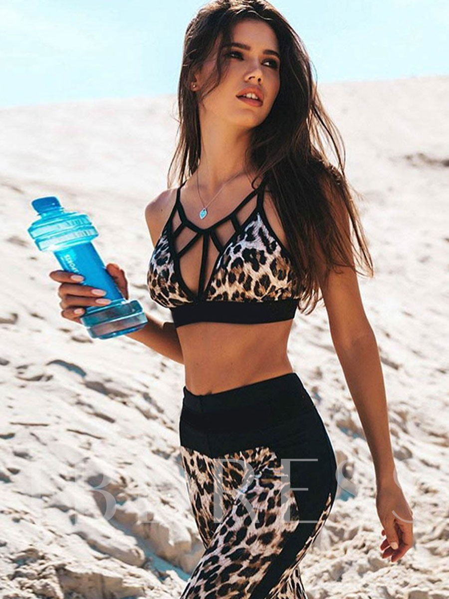 Leopard Deep-V Sleeveless Ankle Length Women's Active Set