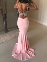 Bateau Trumpet Pearl Sweep Train Evening Dress 2019