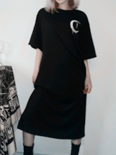 Halloween Costume Round Neck Mid-Calf Half Sleeve Embroidery Regular Women's Day Dress