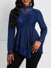Lace Stand Collar Plain Long Sleeve Women's Blouse
