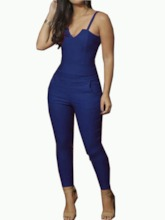 Mid-Calf Plain Western High Waist Women's Jumpsuit