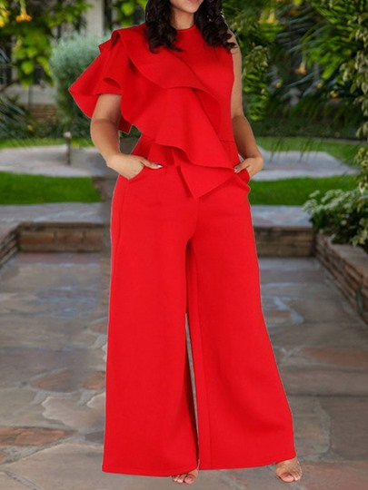 Office Lady Plain Full Length Loose Women's Jumpsuit